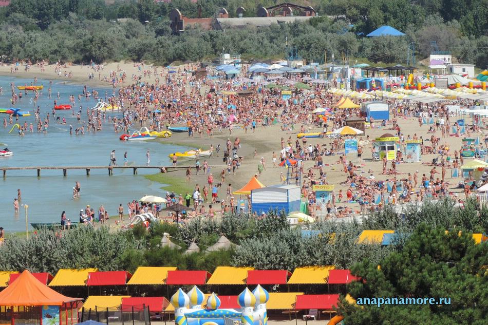 Отдых в Анапе: вид на центральный песчаный пляж, 30.08.2014